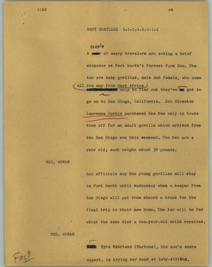 Primary view of object titled '[News Script: Baby gorillas]'.