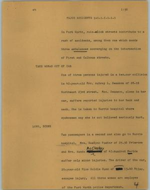 Primary view of object titled '[News Script: Major accidents]'.