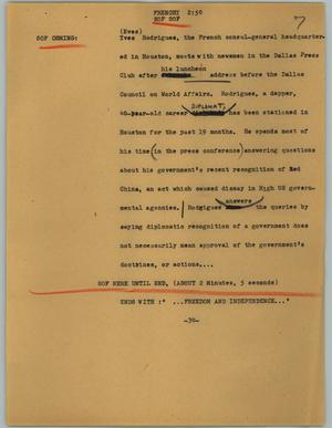 Primary view of object titled '[News Script: Frenchy]'.