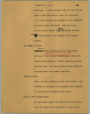 Primary view of object titled '[News Script: Mansfield]'.