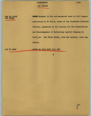 Primary view of object titled '[News Script: Barbershop]'.