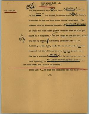 Primary view of object titled '[News Script: Cops wives]'.