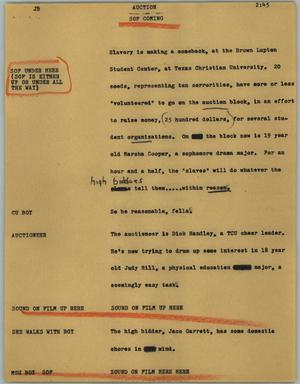 Primary view of object titled '[News Script: Auction]'.