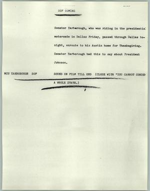 Primary view of object titled '[News Script: SOF coming]'.