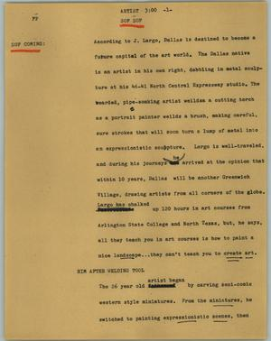 Primary view of object titled '[News Script: Artist]'.