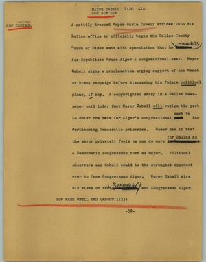 Primary view of object titled '[News Script: Mayor Cabell]'.