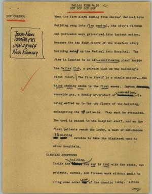 Primary view of object titled '[News Script: Dallas fire]'.