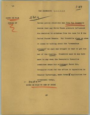 Primary view of object titled '[News Script: Van Cronkhite]'.