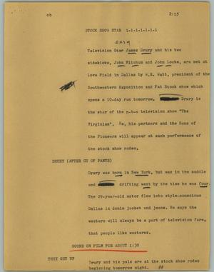 Primary view of object titled '[News Script: Stock show star]'.