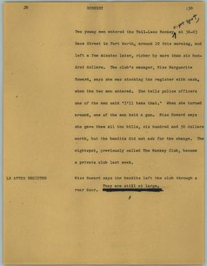 Primary view of object titled '[News Script: Robbery]'.