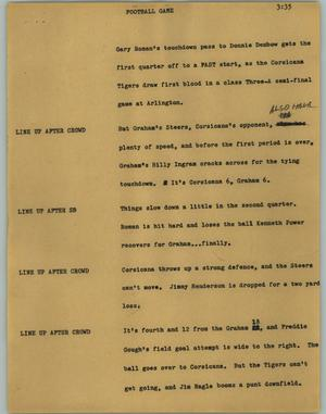 Primary view of object titled '[News Script: Football game]'.