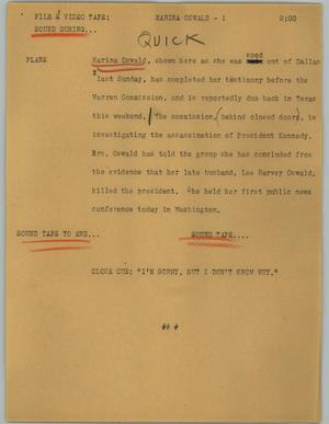 Primary view of object titled '[News Script: Marina Oswald]'.