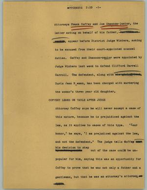 Primary view of object titled '[News Script: Attorneys]'.