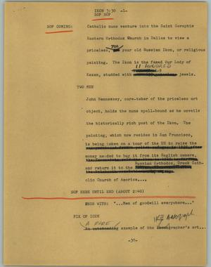 Primary view of object titled '[News Script: Ikon]'.