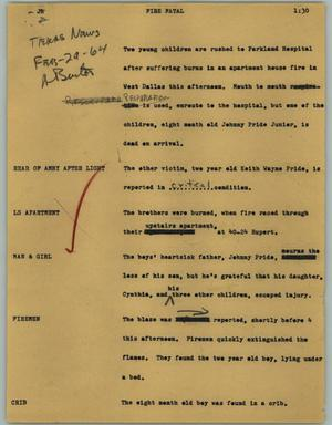 Primary view of object titled '[News Script: Fire fatal]'.