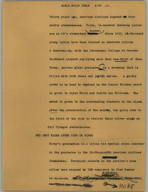 Primary view of object titled '[News Script: Girls goils girls]'.