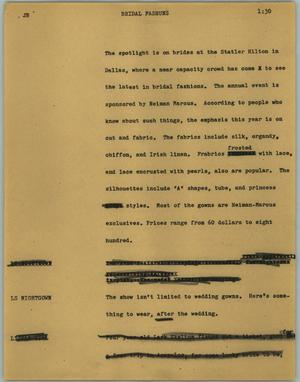 Primary view of object titled '[News Script: Bridal fashuns]'.
