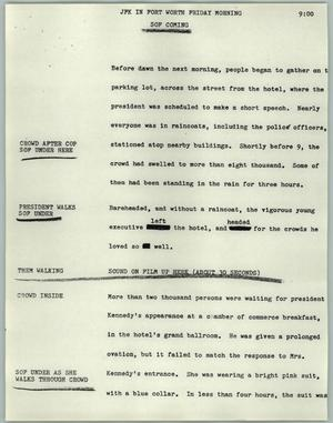 Primary view of object titled '[News Script: JFK in Fort Worth Friday morning]'.