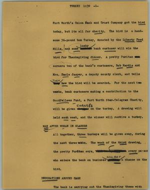 Primary view of object titled '[News Script: Turkey]'.