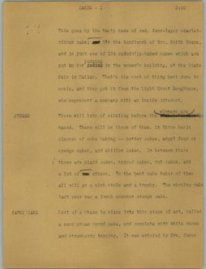 Primary view of object titled '[News Script: Cakes]'.