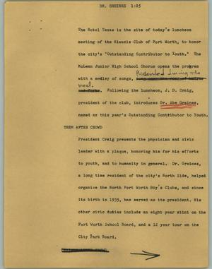 Primary view of object titled '[News Script: Dr. Greines]'.