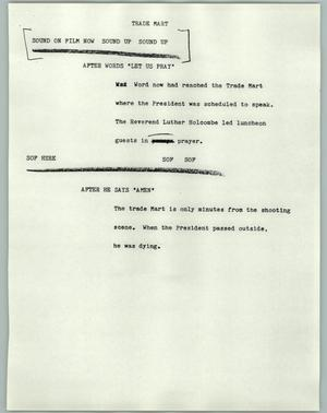 Primary view of object titled '[News Script: Trade Mart]'.