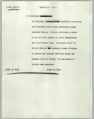 Primary view of object titled '[News Script: Handbills]'.