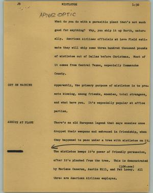 Primary view of object titled '[News Script: Mistletoe]'.