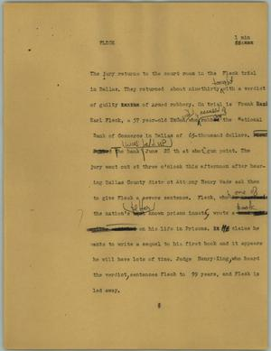 Primary view of object titled '[News Script: Fleck]'.