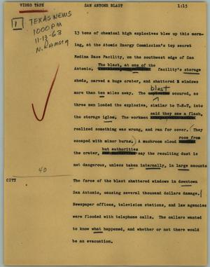 Primary view of object titled '[News Script: San Antone blast]'.