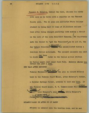 Primary view of object titled '[News Script: McLarry]'.