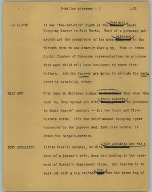 Primary view of object titled '[News Script: 5-dollar giveaway]'.