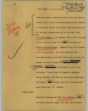 Primary view of object titled '[News Script: Jail break]'.