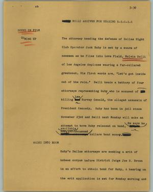 Primary view of object titled '[News Script: Belli arrives for hearing]'.