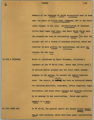 Primary view of object titled '[News Script: Dinner]'.