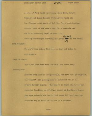 Primary view of object titled '[News Script: Deer know season over]'.