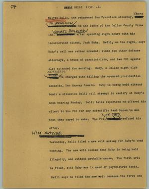 Primary view of object titled '[News Script: Belli]'.