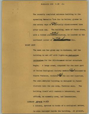 Primary view of object titled '[News Script: Marsalis Zoo]'.