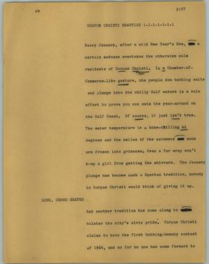 Primary view of object titled '[News Script: Corpus Christi beauties]'.