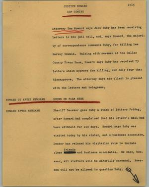 Primary view of object titled '[News Script: Justice Howard]'.