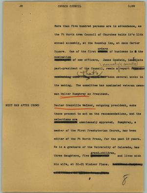 Primary view of object titled '[News Script: Church council]'.