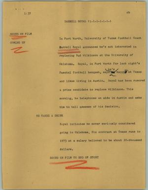 Primary view of object titled '[News Script: Darrel Royal]'.