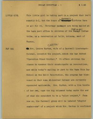 Primary view of object titled '[News Script: Indian Christmas]'.