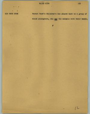 Primary view of object titled '[News Script: Blind kids]'.