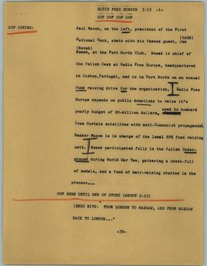 Primary view of object titled '[News Script: Radio Free Europe]'.
