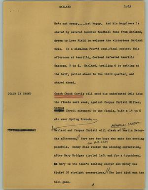 Primary view of object titled '[News Script: Garland]'.