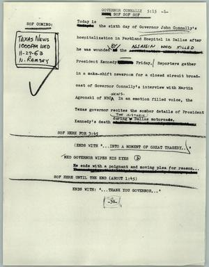 Primary view of object titled '[News Script: Governor Connally]'.