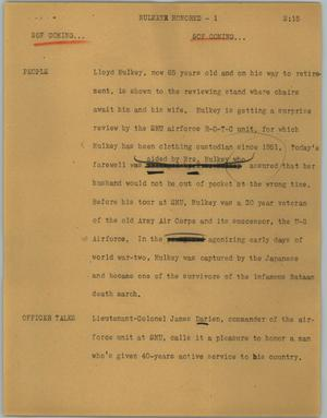 Primary view of object titled '[News Script: Mulkey Honored]'.