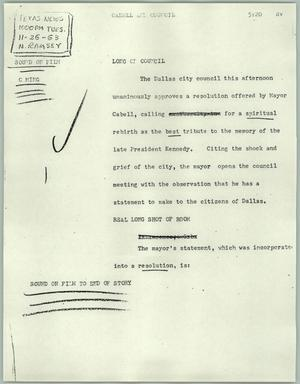 Primary view of object titled '[News Script: Cabell and council]'.