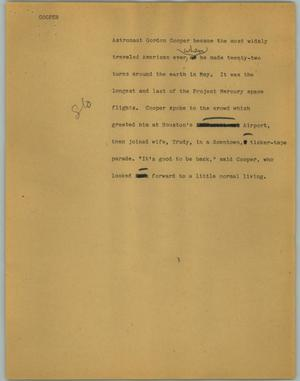 Primary view of object titled '[News Script: Cooper]'.